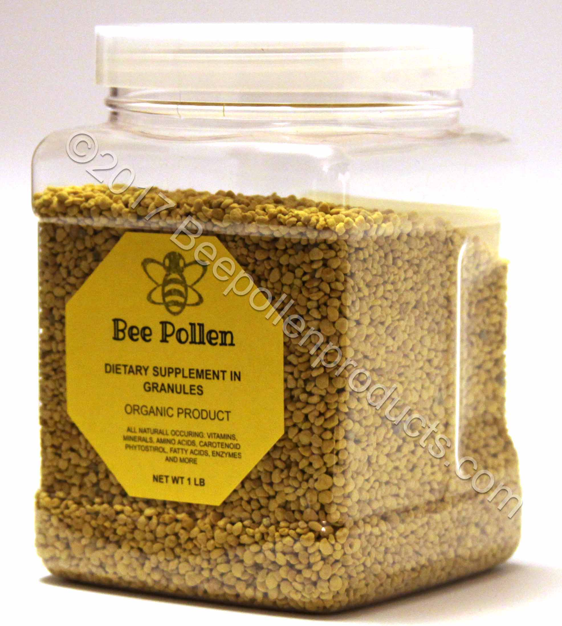 BEE POLLEN 100% Pure Organic Granules 1 lb in Jar